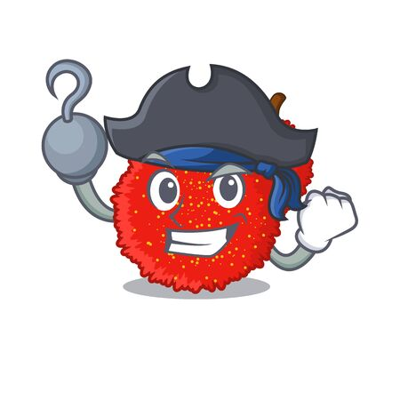 Pirate fresh bayberry fruit in mascot basket vector illustration