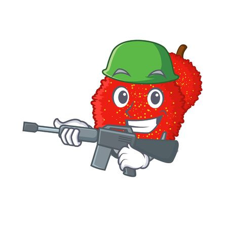 Army fresh bayberry fruit in mascot basket vector illustration