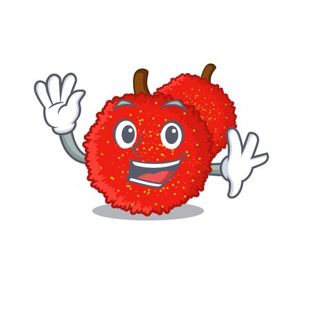 Waving Sweet bayberry fruit in character shape vector illustration