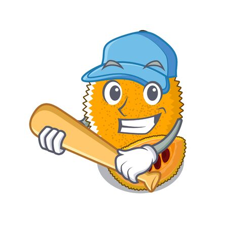 Playing baseball gac fruit in a cartoon fridge illustration vector