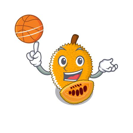 With basketball gac fruit in a cartoon fridge illustration vector Stock Illustratie