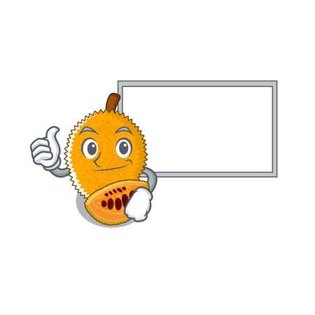 Thumbs up with board gac fruit in a cartoon fridge illustration vector