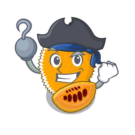 Pirate gac fruit in a cartoon fridge illustration vector