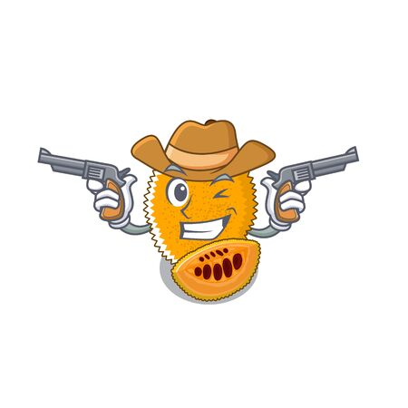 Cowboy gac fruit in a cartoon fridge illustration vector Stock Illustratie