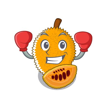 Boxing gac fruit in a cartoon fridge illustration vector