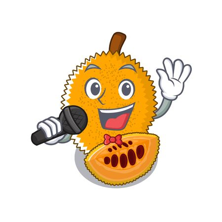 Singing gac fruit isolated in the cartoon illustration vector