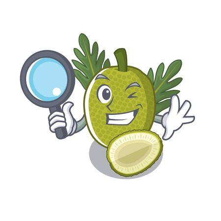 Fruta del pan detective con en la ilustración de vector de forma de personaje