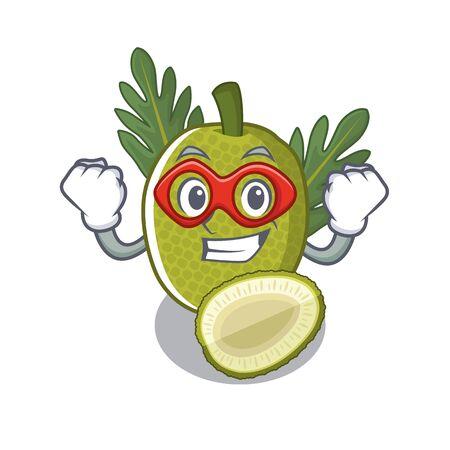 Fruta del pan de superhéroe con la ilustración de vector de forma de personaje Ilustración de vector