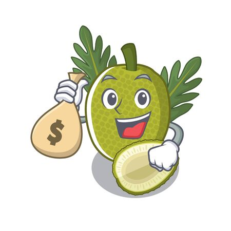 With money bag fried breadfruit served in cartoon bowl vector illustration Standard-Bild - 129077156