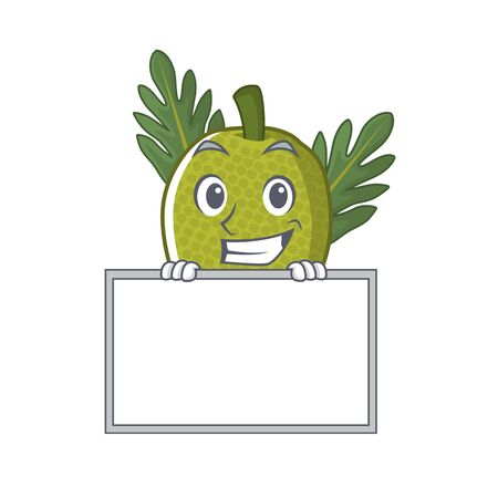 Grinning with board fried breadfruit served in cartoon bowl vector illustration Standard-Bild - 129077212
