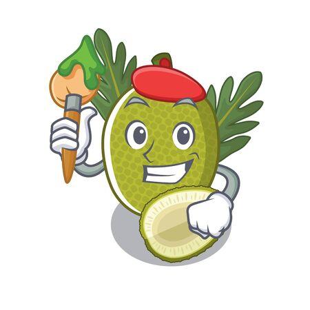 Artist fried breadfruit served in cartoon bowl vector illustration Standard-Bild - 129077155