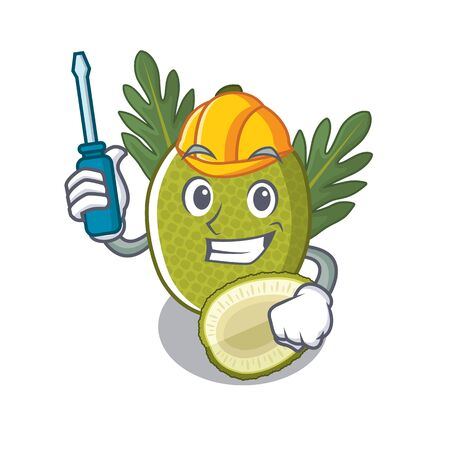 Automotive breadfruit isolated with in the mascot illustration vector