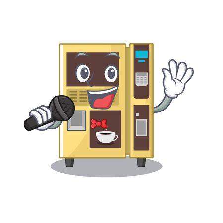 Singing coffee vending machine in a karakter illustration vector
