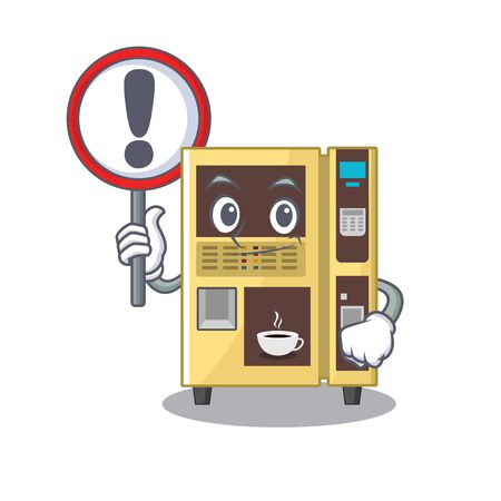 With sign coffee vending machine isolated the mascot vector illustration