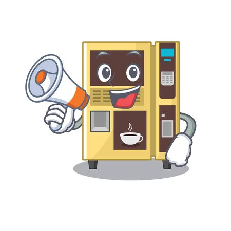 With megaphone coffee vending machine isolated the mascot vector illustration