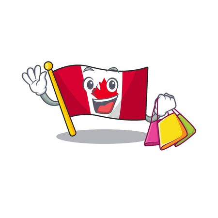 Shopping canadian flag fluttering on mascot pole vector illustration