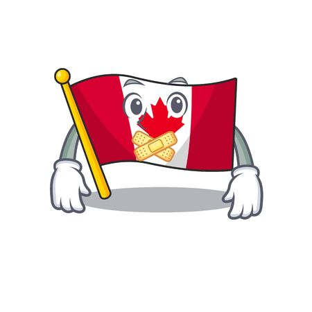 Silent flag canadian with in the character illustration vector Ilustração