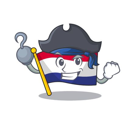 Pirate flag netherlands isolated in the character vector illustration
