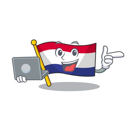 With laptop flag netherlands isolated in the character vector illustration Иллюстрация