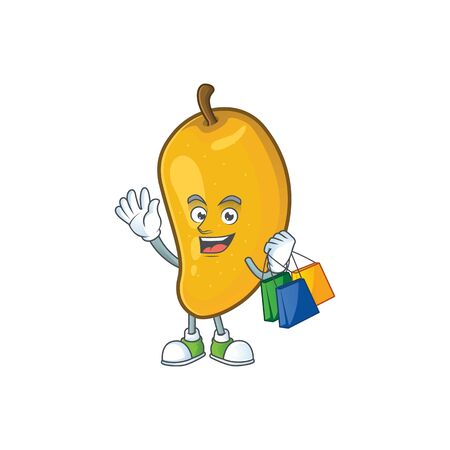 Shopping cartoon of mango character on a white background.