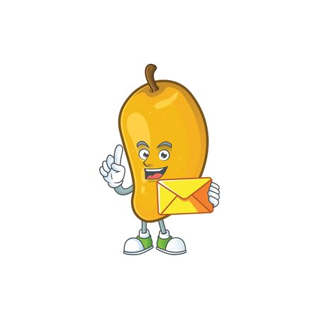 With envelope cartoon of mango character on a white background.