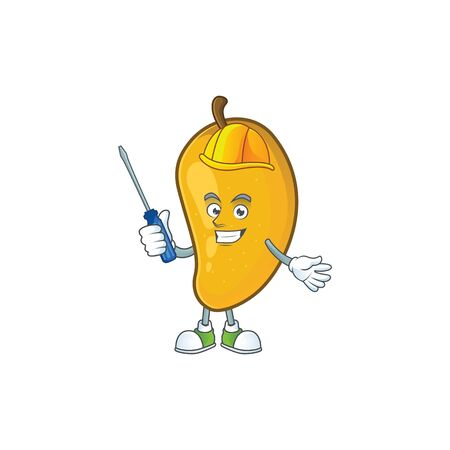 Automotive ripe mango character cartoon on white background Stock Illustratie