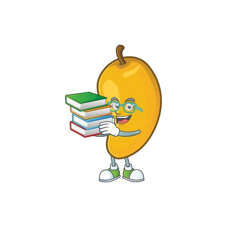 Student with book ripe mango character cartoon on white background