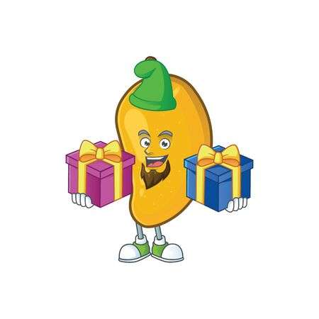 Bring two gifts ripe mango character cartoon on white background Imagens - 129108573