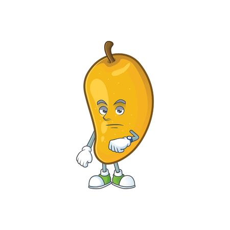 Waiting ripe mango character cartoon on white background Imagens - 129108602