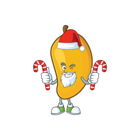 Santa with candy ripe mango character cartoon on white background Imagens - 129108611