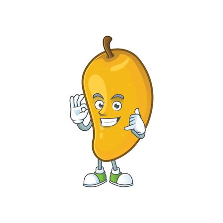 Call me ripe mango character cartoon on white background Imagens - 129108612