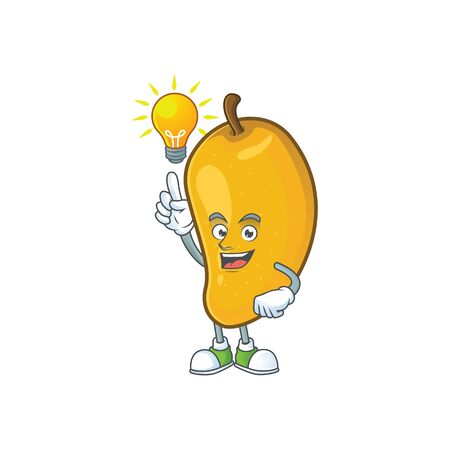 Have an idea ripe mango character cartoon on white background Imagens - 129108620