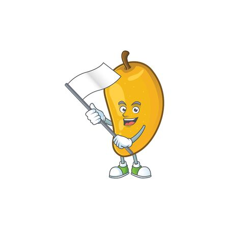 With flag ripe mango character cartoon on white background Imagens - 129108664
