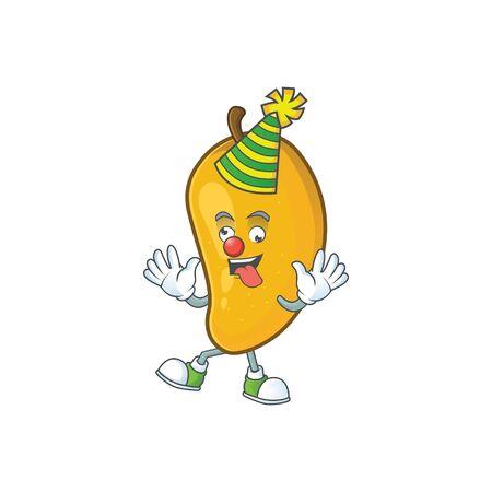 Clown ripe mango character cartoon on white background Imagens - 129108625