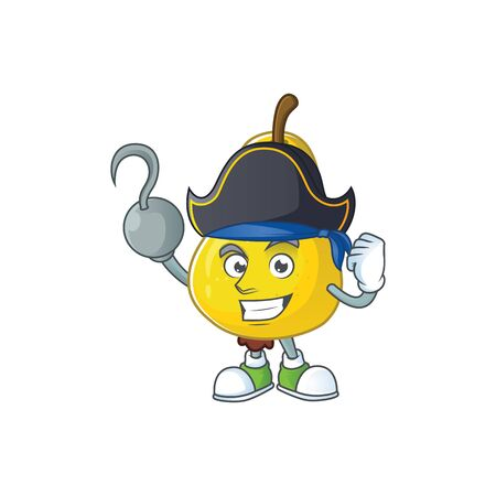 Pirate fruit pear cartoon character with mascot vector illustration Foto de archivo - 129167161