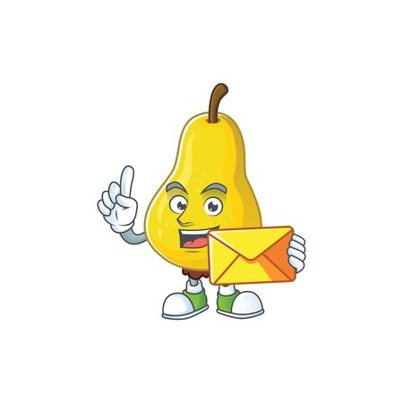 With envelope fruit pear character with mascot cartoon cute vector illustration