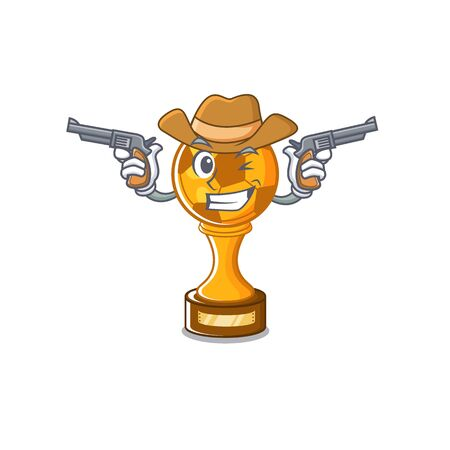 Cowboy soccer trophy isolated with the cartoon vector illustration Stock Illustratie