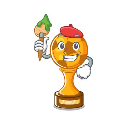 Artist soccer trophy isolated with the cartoon vector illustration Archivio Fotografico - 129167208