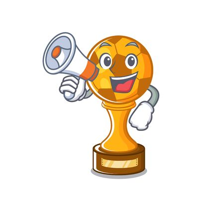 With megaphone soccer trophy isolated with the cartoon vector illustration
