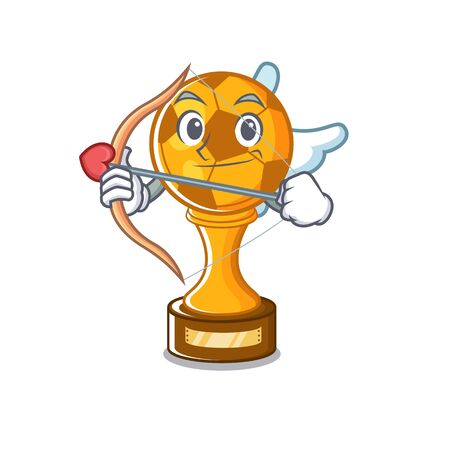 Cupid soccer trophy isolated with the cartoon vector illustration