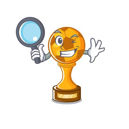 Detective soccer trophy with the mascot shape vector illustration
