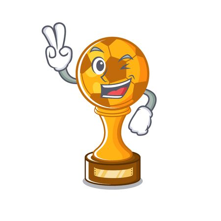 Two finger soccer trophy with the mascot shape vector illustration Stock fotó - 129167379