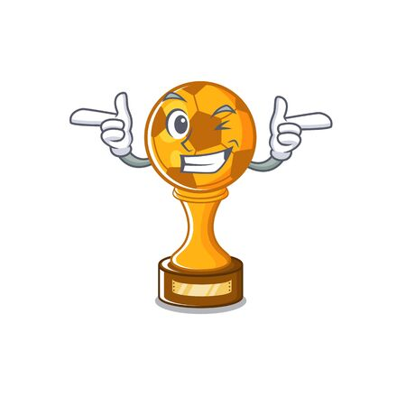Wink soccer trophy with the mascot shape vector illustration