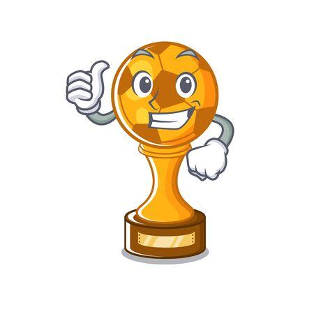 Thumbs up soccer trophy with the mascot shape vector illustration Illusztráció