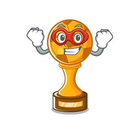 Super hero soccer trophy with the mascot shape vector illustration
