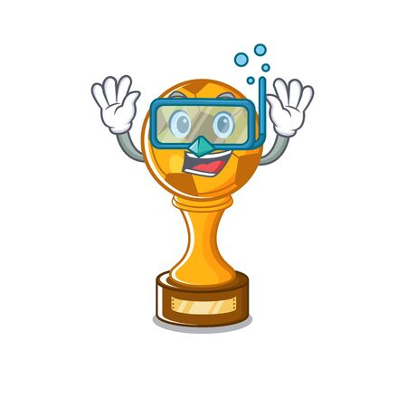 Diving soccer trophy with the mascot shape vector illustration Stock fotó - 129167385