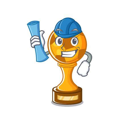 Architect soccer trophy with the mascot shape vector illustration