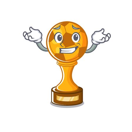 Grinning soccer trophy with the mascot shape vector illustration