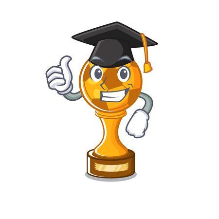 Graduation soccer trophy with the mascot shape vector illustration Stock fotó - 129167453