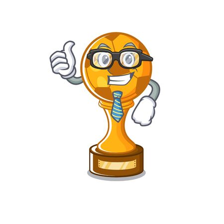 Businessman soccer trophy with the mascot shape vector illustration